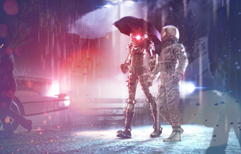 Фото обои асфальт, свет, дождь, космонавт, вечер, зонт, скафандр, прогулка, Big Sister