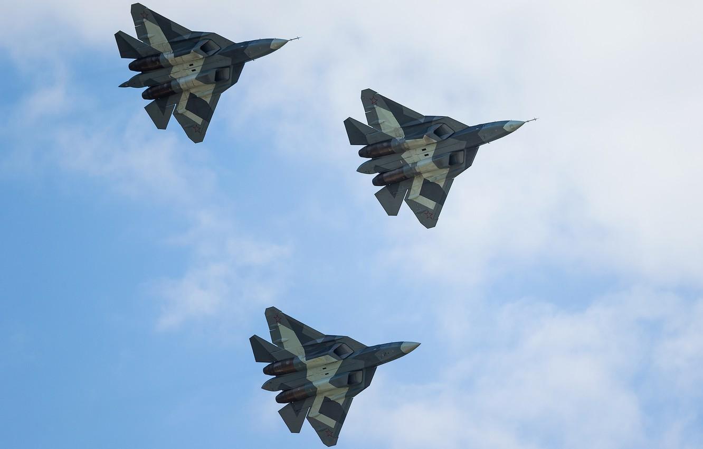 Обои Пятого поколения, многоцелевой, ПАК ФА Т-50, Самолёт, сверхзвуковой, Владислав Перминов, истребитель. Авиация foto 10