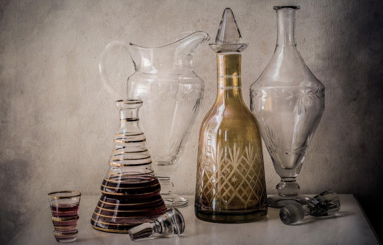 Обои стекло, натюрморт, бутылка, цветы, графин. Разное foto 7