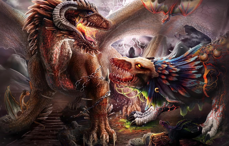 создания картинки фэнтези мистика драконы различают