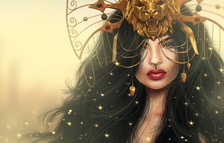 Фото обои взгляд, девушка, украшения, лицо, рендеринг, фон, волосы, брюнетка