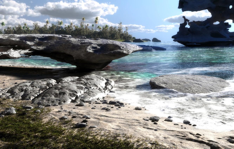 Фото обои песок, море, деревья, пейзаж, природа, озеро, камни, пальмы, скалы, яхта