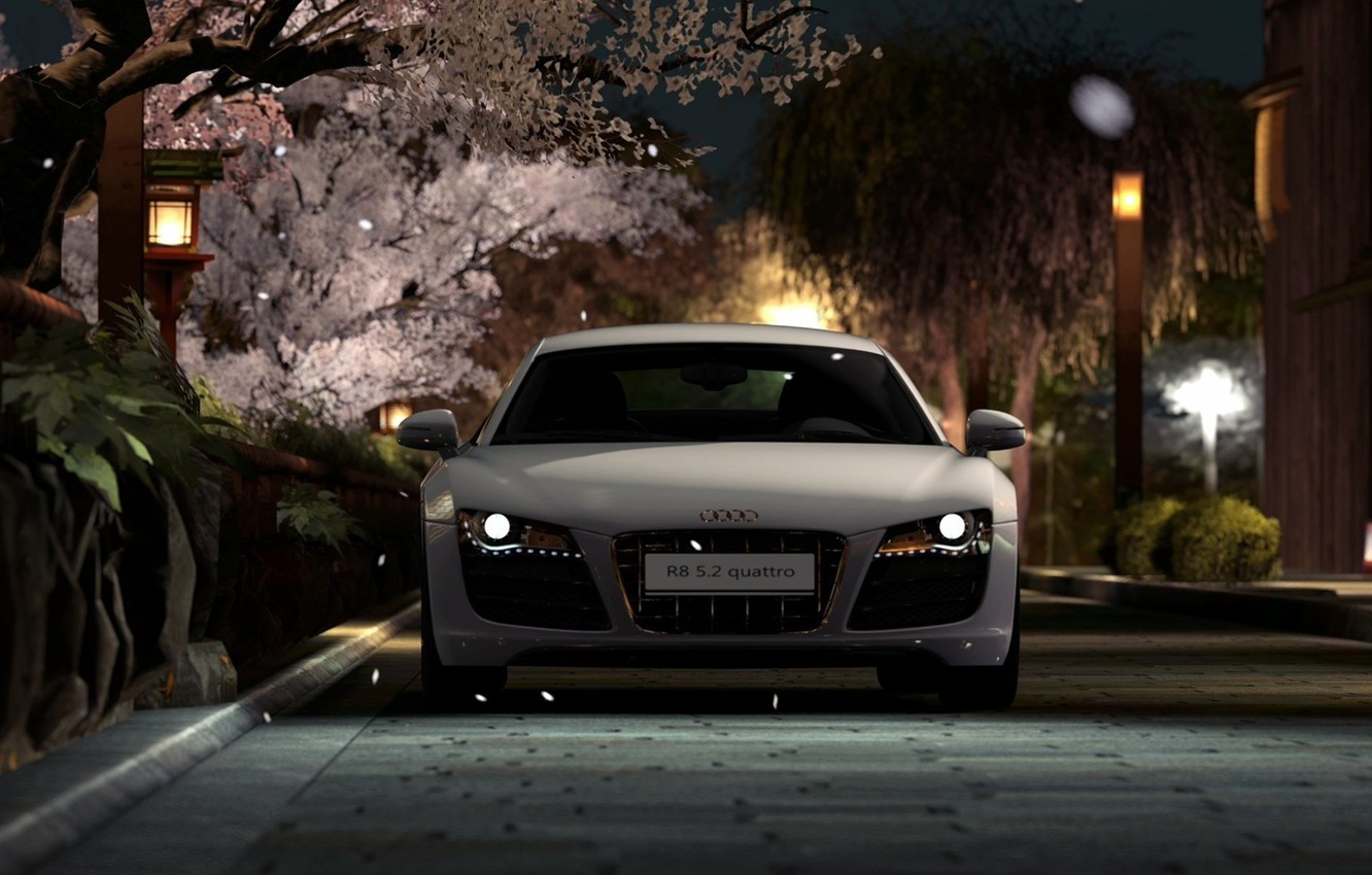 Фото обои дорога, car, машина, city, lights, обои, улица, фары, фонари, белая, wallpaper, white, Audi R8, автомобиль, …