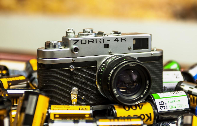 Фото обои камера, фотоаппарат, объектив, ZORKI-4K