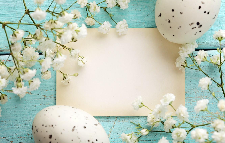 Фото обои праздник, пасха, гнездо, цветочки, открытка, яички