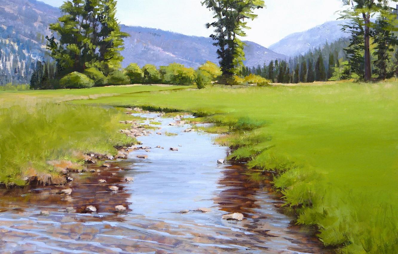 Картинка с полянкой и ручьем