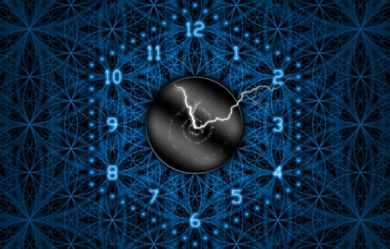 Фото обои синий, время, стрелки, узоры, молния, часы, цвет, цифры, циферблат, числа