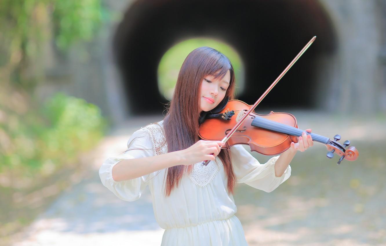 Фото обои девушка, музыка, фон, скрипка
