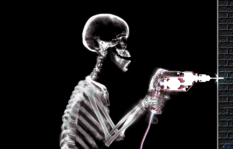 Фото обои скелет, дрель, работяга