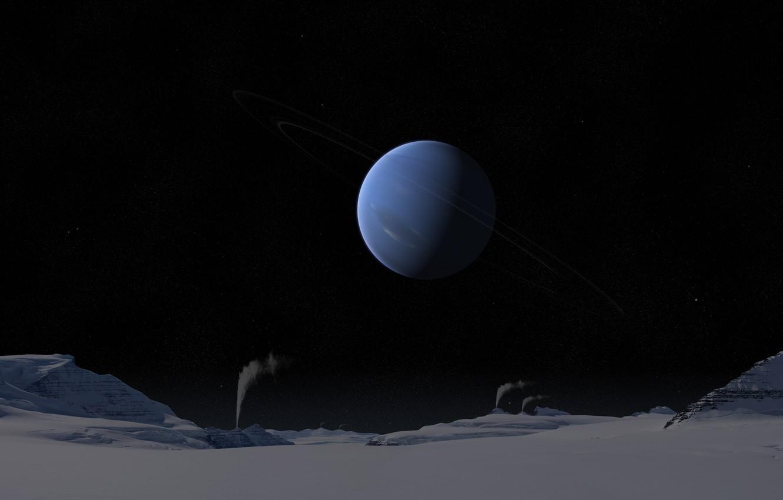 Фото обои холод, небо, поверхность, снег, ночь, кольца, звёзды, солнечная система, нептун, газовый гигант, гейзеры, тритон
