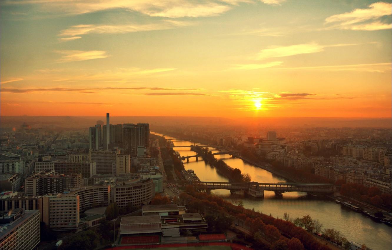 Фото обои город, река, рассвет, Париж