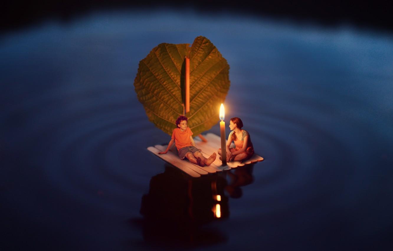 Фото обои вода, ночь, ситуация, парус, плот