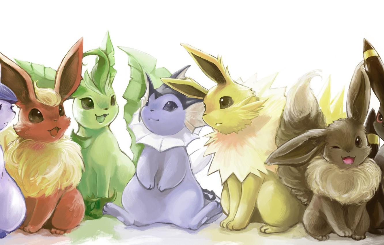 Фото обои аниме, покемон, pokemon, umbreon, flareon, glaceon, jolteon, leafeon, espeon, vareon