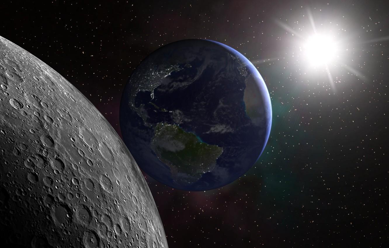Красивое фото с космоса земли и луны