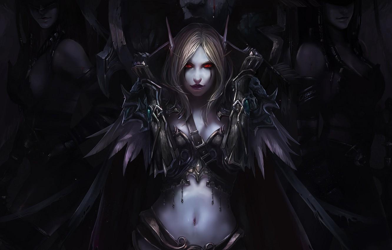 Фото обои девушки, эльф, перья, арт, эльфийка, плащ, красные глаза, world of warcraft, chenbo, Сильвана