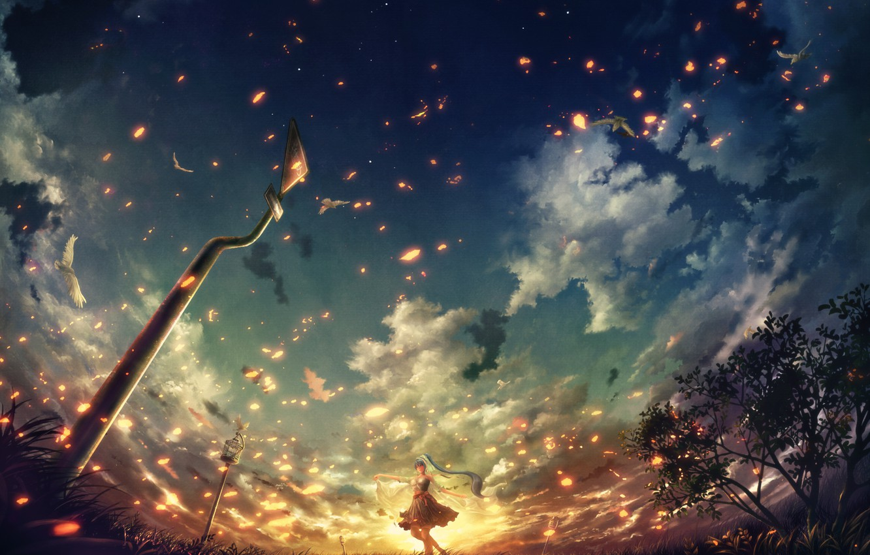 Фото обои небо, девушка, облака, птицы, сияние, голуби