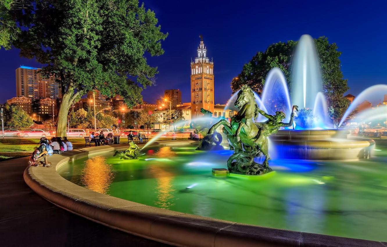 Обои missouri, kansas city, country club plaza, Jc nichols memorial fountain, канзас-сити. Города foto 6