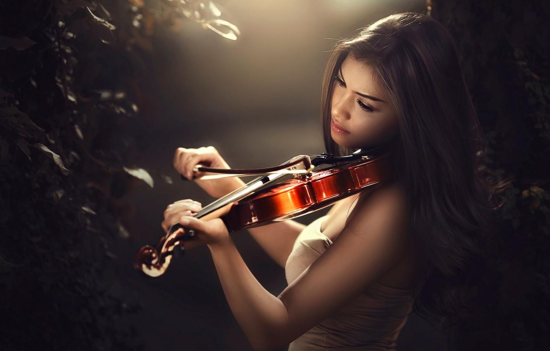 Фото обои скрипка, смычок, боке, скрипачка