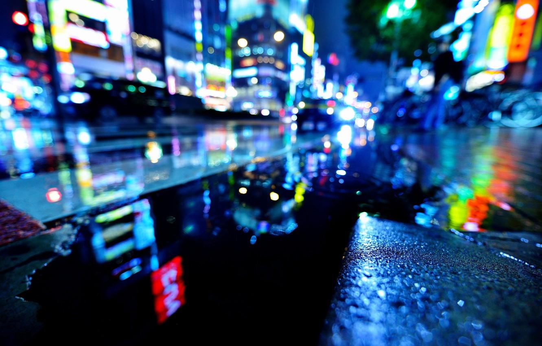 Фото обои мокро, вода, ночь, город, огни, дождь, улица, Япония, Токио, лужи, боке, Синдзюку, Hidehiko Sakashita Photography