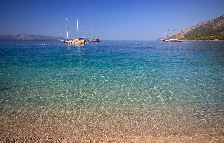 Фото обои море, небо, побережье, яхты, горизонт, Хорватия