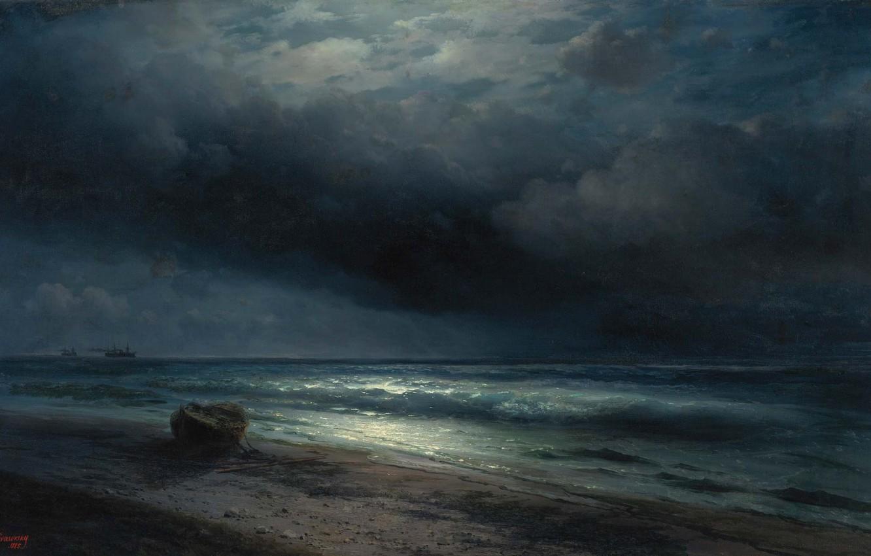 Обои рисунок, Вода, лодки, ночь, свет. Разное foto 19
