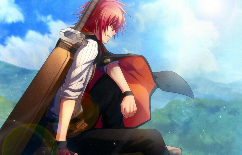 Фото обои небо, меч, парень, плащ, art, wand of fortune, visual novel, kagerou usuba, lagi el nagil