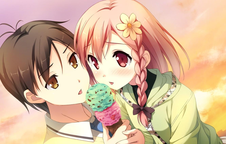Фото обои небо, дети, ромашка, мороженное, косичка, visual novel, your diary, yua, tomoki nagamine, by kantoku