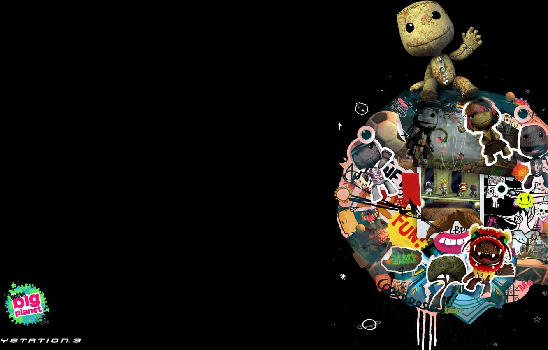 Фото обои чёрный, игра, планета, большая, game, Little Big Planet, маленькая, компьютерные игры, sackboy, видео игры, pc …