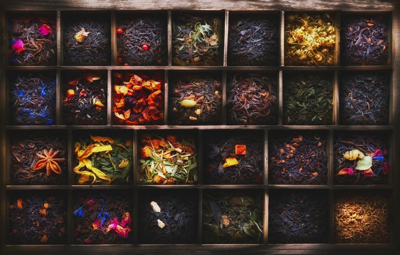 Фото обои чай, ящик, ячейки, разные сорта, 101 чай
