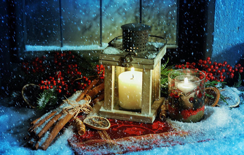 Фото обои снег, свечи, Рождество, фонарь, Новый год, корица