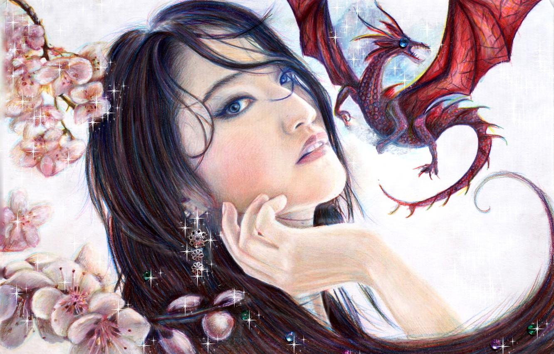 Фото обои взгляд, девушка, дракон, красота, art, Mulan