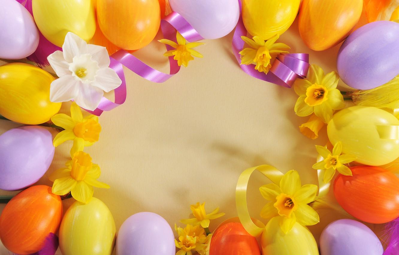 Фото обои цветы, яйца, Пасха, лента, flowers, нарциссы, spring, Easter, eggs