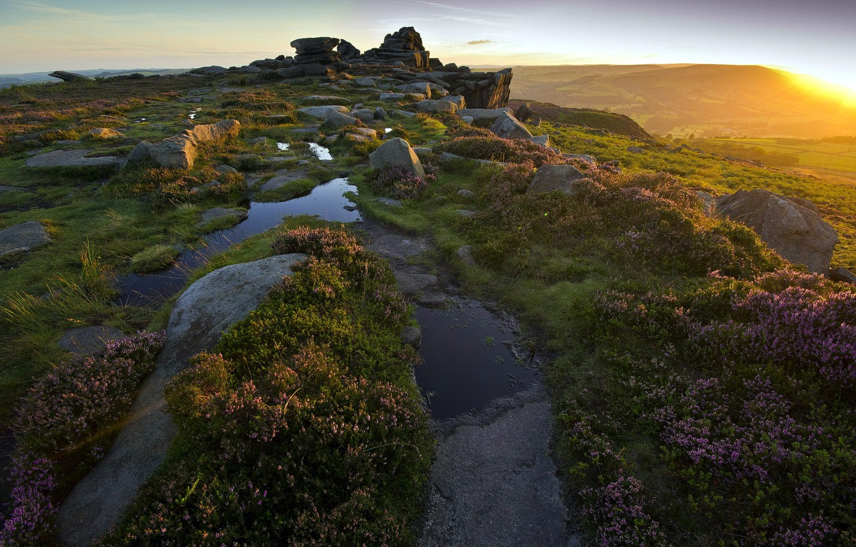 Фото обои свет, пейзаж, горы, природа, камни, утро