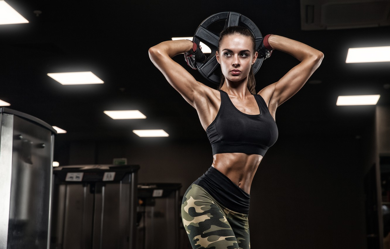 Фото обои brunette, pose, female, workout, fitness