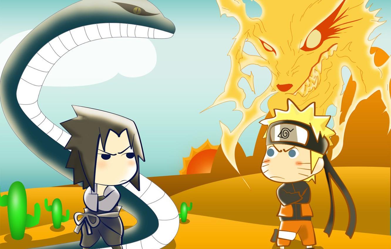 Фото обои змея, аниме, лис, наруто