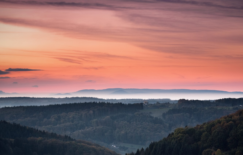 Фото обои лес, небо, деревья, закат, оранжевый, холмы, Вечер, дымка