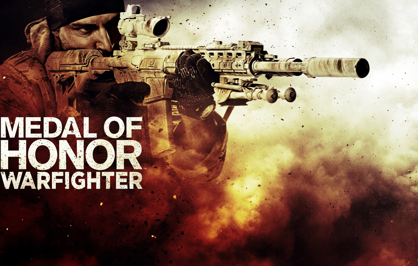 Фото обои оружие, пыль, солдат, автомат, бандана, бронежилет, Medal of Honor: Warfighter