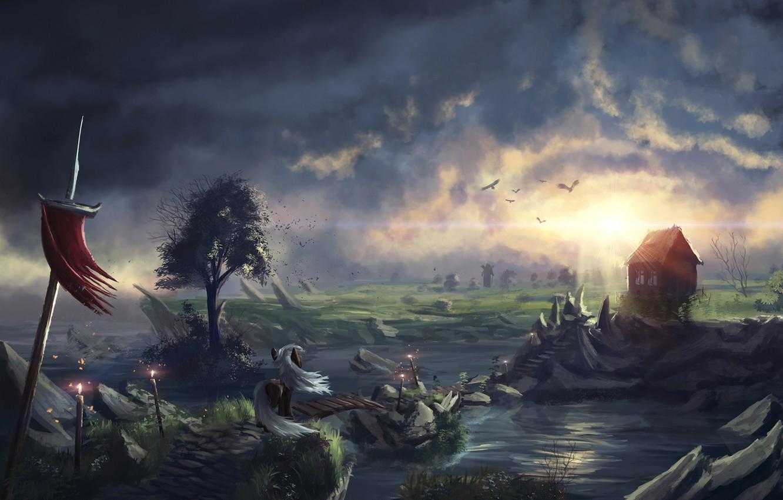 Фото обои птицы, мост, дом, река, арт, пони, нарисованный пейзаж