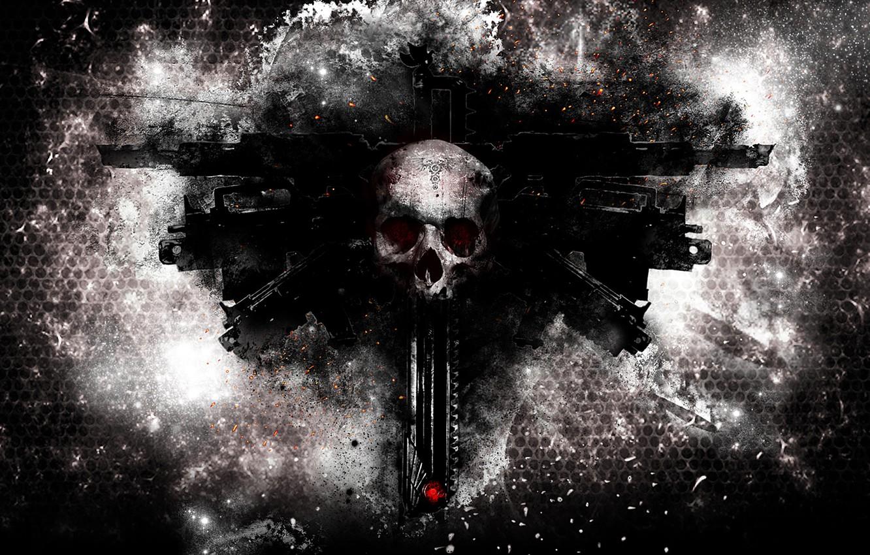 Фото обои череп, Warhammer 40000, weapons, bolters, аквилла