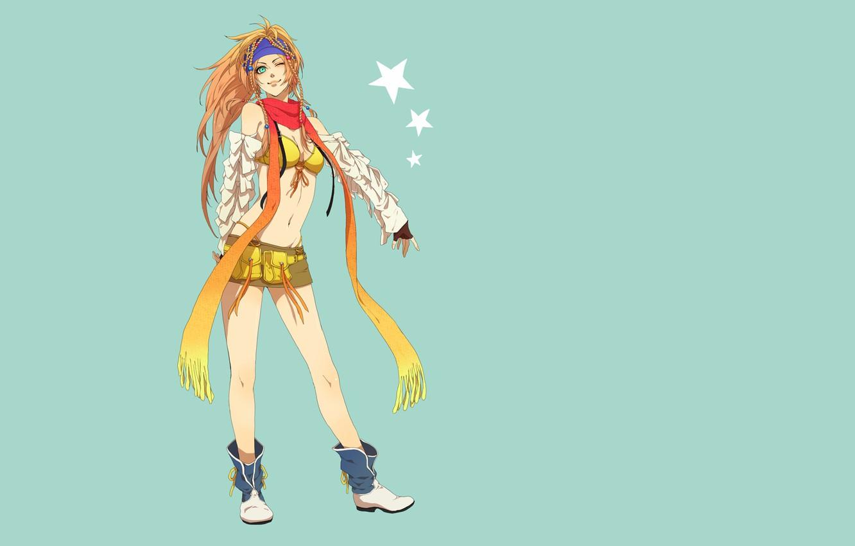Фото обои девушка, звезды, игра, японка, юбка, минимализм, аниме, шарф, живот, арт, блондинка, азиатка, длинные волосы, синий …