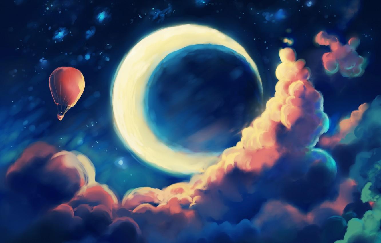 Фото обои небо, облака, ночь, воздушный шар, фантазия, месяц, арт