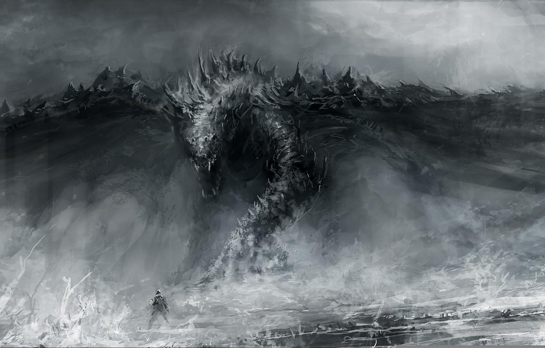 Фото обои дракон, рисунок, человек, арт, пасть, художник, фэнтази, Chris Cold