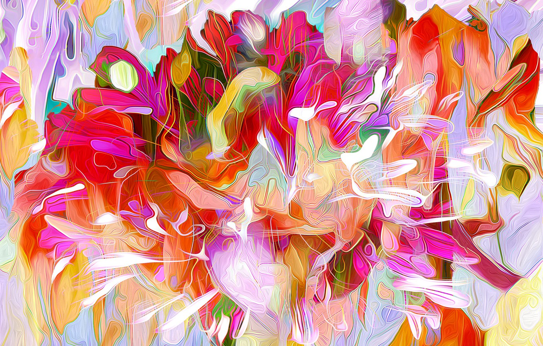 Фото обои листья, линии, цветы, природа, рендеринг, краски, лепестки