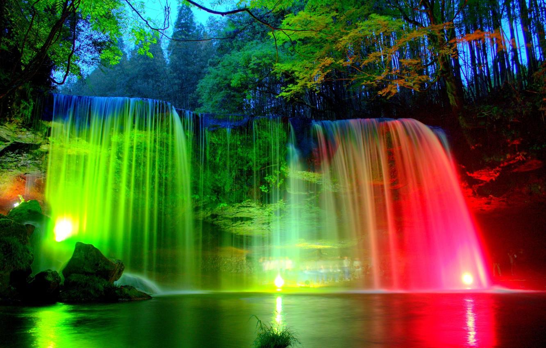 Обои фонари, водопад, park. Рендеринг foto 18