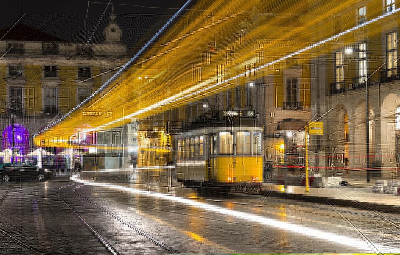 Обои lisbon, трамвай, ночь. Города foto 7