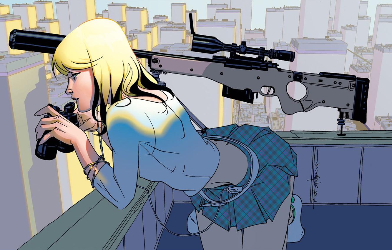 Фото обои крыша, девушка, город, блондинка, бинокль, снайпер, прицел, винтовка, наблюдение