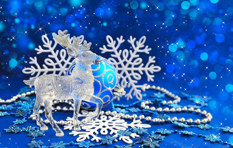Фото обои шарики, праздник, Рождество, New Year, cнежинки, украшения Новый Год