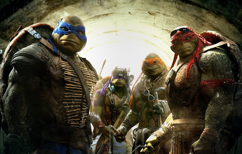 Фото обои Fantasy, Green, TMNT, Raphael, Leonardo, Donatello, Teenage Mutant Ninja Turtles, Weapons, Leo, Movie, Paramount Pictures, ...
