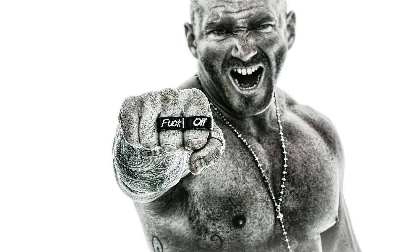 Фото обои надпись, злость, тату, перстень, кулак, Cornell Stewart