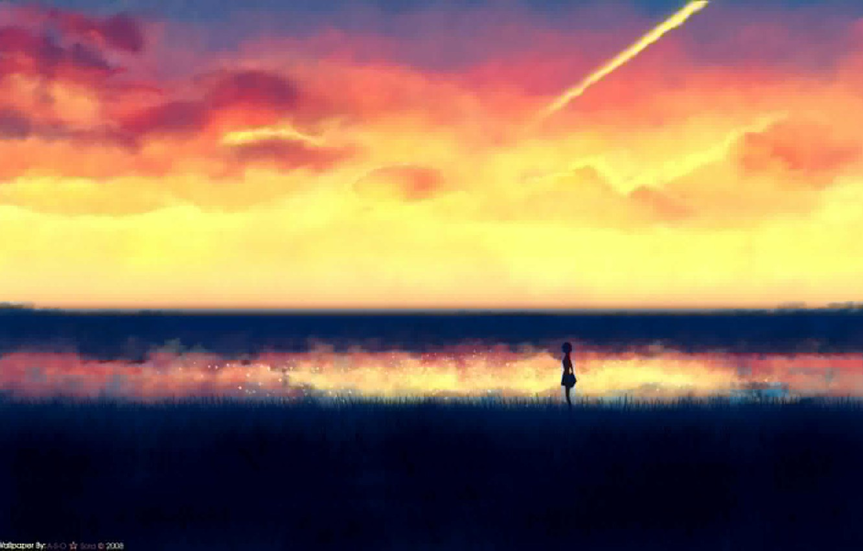 Фото обои поле, небо, девушка, рассвет, рисунок, минимализм